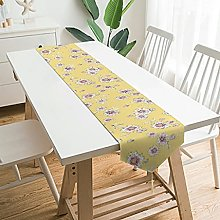 Soft Plush Table Runner Flowers Yellow Tablecloth