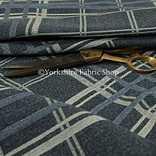 Soft Wool Effect Chenille Navy Blue Tartan Pattern