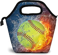 Softball Fire Portable Lunch Bag Insulated Cooler