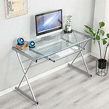 soges Computer Desk 120cm Glass Desk Workstation