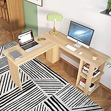 SogesHome L-Shaped Desk with 2 Shelves, Writing