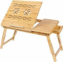 SogesHome Laptop Stand Table with Drawer Bamboo