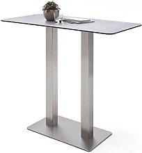 Soho Glass Bar Table Rectangular In Light Grey And