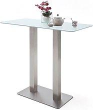 Soho Glass Bar Table Rectangular In Matt White And