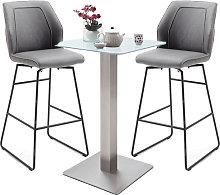Soho Glass Bar Table With 2 Aberdeen Grey Bar