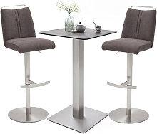 Soho Glass Bar Table With 2 Giulia Brown Fabric