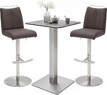 Soho Glass Bar Table With 2 Giulia Brown Leather