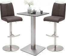 Soho Glass Bar Table With 2 Giulia Brown Stools