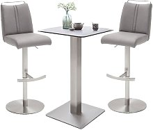 Soho Glass Bar Table With 2 Giulia Ice Grey