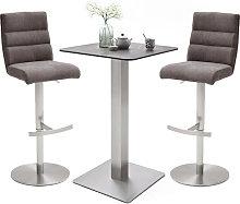 Soho Glass Bar Table With 2 Hiulia Brown Fabric