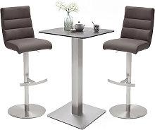 Soho Glass Bar Table With 2 Hiulia Brown Leather