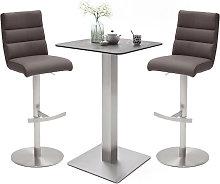 Soho Glass Bar Table With 2 Hiulia Brown Stools