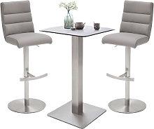 Soho Glass Bar Table With 2 Hiulia Ice Grey