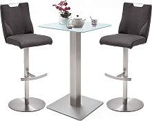 Soho Glass Bar Table With 2 Jiulia Anthracite