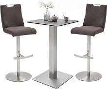 Soho Glass Bar Table With 2 Jiulia Brown Fabric