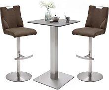 Soho Glass Bar Table With 2 Jiulia Brown Leather