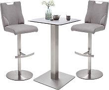 Soho Glass Bar Table With 2 Jiulia Ice Grey