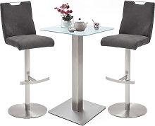 Soho White Glass Bar Table With 2 Jiulia Fabric
