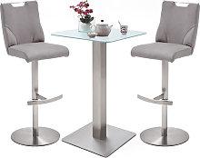 Soho White Glass Bar Table With 2 Jiulia Ice Grey