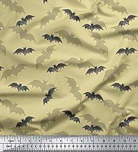 Soimoi Beige Japan Crepe Satin Fabric Shadow & Bat