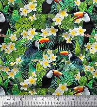 Soimoi Black Cotton Duck Fabric Tropical