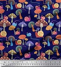 Soimoi Blue Cotton Duck Fabric Colorful Snail &