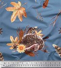 Soimoi Blue Cotton Duck Fabric Leaves & Hedgehog