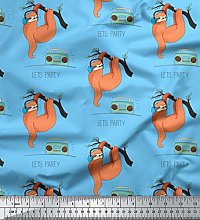 Soimoi Blue Cotton Duck Fabric Radio & Sloth