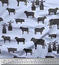 Soimoi Blue Cotton Duck Fabric Stencil Cow & Pig