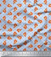 Soimoi Blue Cotton Jersey Fabric Oaknut & Fox