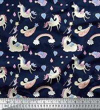 Soimoi Blue Cotton Poplin Fabric Rainbow & Unicorn
