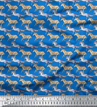 Soimoi Blue Cotton Poplin Fabric Running Horse