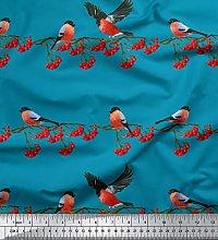 Soimoi Blue Georgette Viscose Fabric Red Berries &