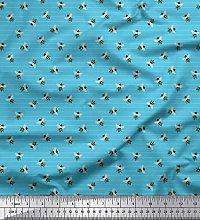 Soimoi Blue Heavy Canvas Fabric Stripe & Honey Bee