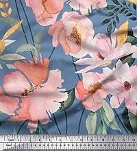 Soimoi Blue Satin Silk Fabric Leaves & Magnolia
