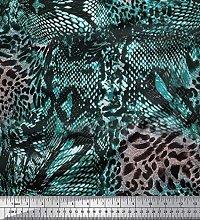 Soimoi Blue Velvet Fabric Fish & Leopard Animal