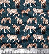 Soimoi Blue Velvet Fabric Tiger,Leopard & Wild