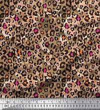 Soimoi Brown Cotton Jersey Fabric Leopard Animal