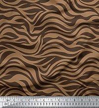 Soimoi Brown Cotton Poplin Fabric Wild Animal Skin