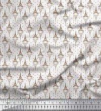 Soimoi Brown Crepe Silk Fabric Arrow,Heart &