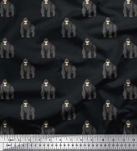 Soimoi Cotton Cambric Fabric Gorilla Animal Decor
