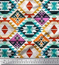 Soimoi Cotton Duck Fabric Aztec Kilim Print Fabric