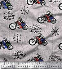 Soimoi Cotton Duck Fabric Biker,Direction Compass