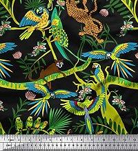 Soimoi Cotton Duck Fabric Branches,Parrot &