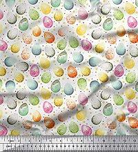 Soimoi Cotton Duck Fabric Egg Easter Fabric Prints
