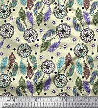 Soimoi Cotton Duck Fabric Eye,Dot & Peacock