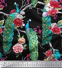 Soimoi Cotton Duck Fabric Floral & Peacock Bird