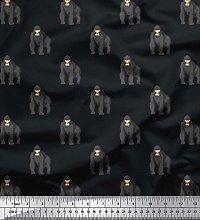Soimoi Cotton Duck Fabric Gorilla Animal Fabric