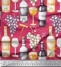 Soimoi Cotton Duck Fabric Grapes,Wine Glass &