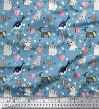 Soimoi Cotton Duck Fabric Heart,Footprint & Cat